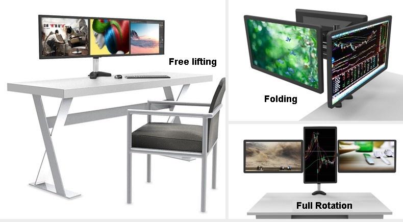 15-27 inch Desktop Triple Screen Holder TV Mount Monitor